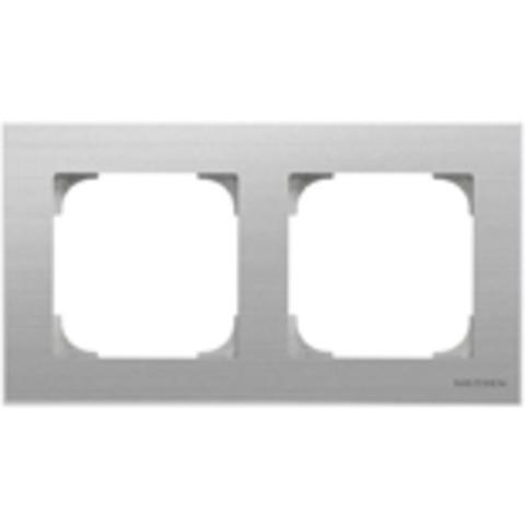 Рамка на 2 поста. Цвет Нержавеющая сталь. ABB(АББ). Sky(Скай). 2CLA857200A1401