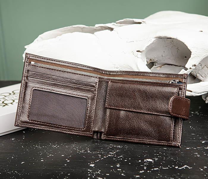 WL321-2 Мужское портмоне из коричневой кожи с монетницей, «Atos» фото 05