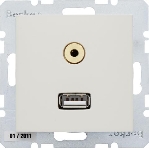 Розетка USB/3.5mm AUDIO. Цвет Бежевый. Berker (Беркер). S.1. 3315398982