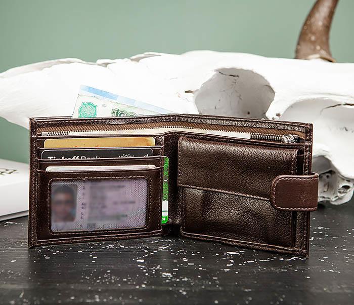 WL321-2 Мужское портмоне из коричневой кожи с монетницей, «Atos» фото 06