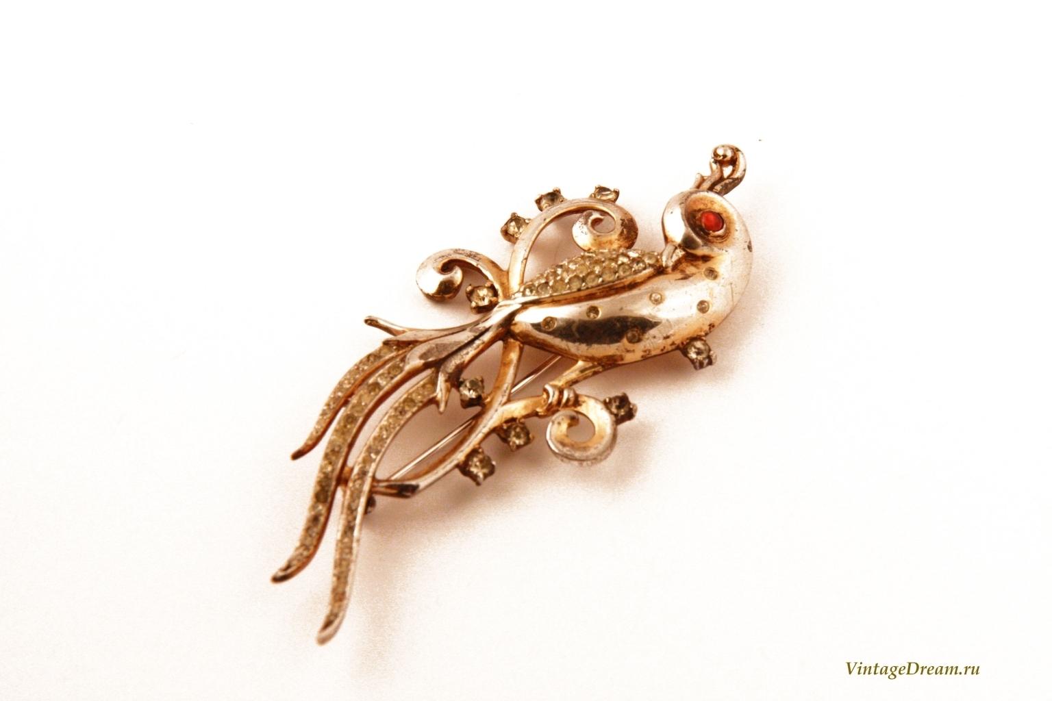 Роскошная серебряная брошь Райская птица от Trifari.