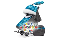 Санки коляска PIKATE Supreme «Бирюза»