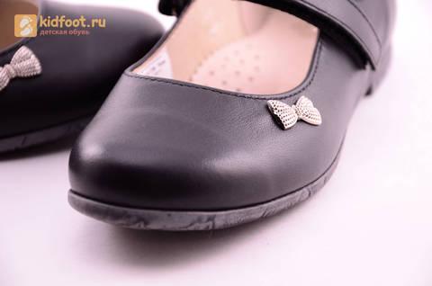 Туфли для девочек из натуральной кожи на липучке Лель (LEL), цвет черный. Изображение 14 из 18.