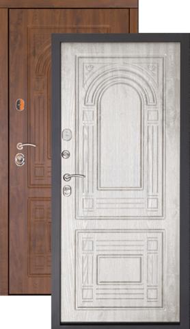 Тёплая дверь входная Дверной континент Флоренция, 2 замка, 1,5 мм  металл, беленый дуб