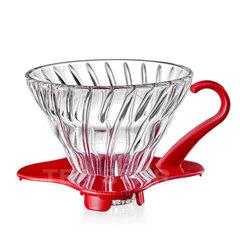 Воронка Hario 60, VDG-01r, стеклянная для приготовления кофе, красная