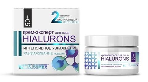 BelKosmex  HIALURONS Крем-эксперт для лица 50+ интенсивное увлажнение + разглаживание морщин 48г