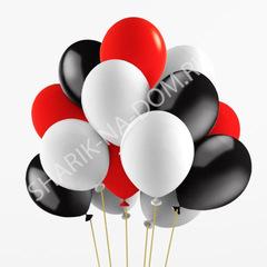 Облако из бело-красных и черных шаров