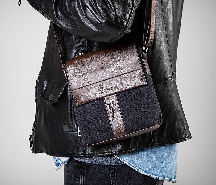 BAG561-1 Небольшая сумка из ткани и кожи с ремнем
