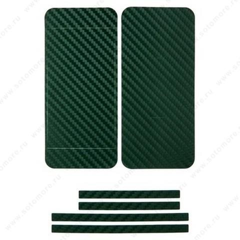 Наклейка карбон для iPhone SE/ 5s/ 5C/ 5 зеленая на переднюю, заднюю и боковые части