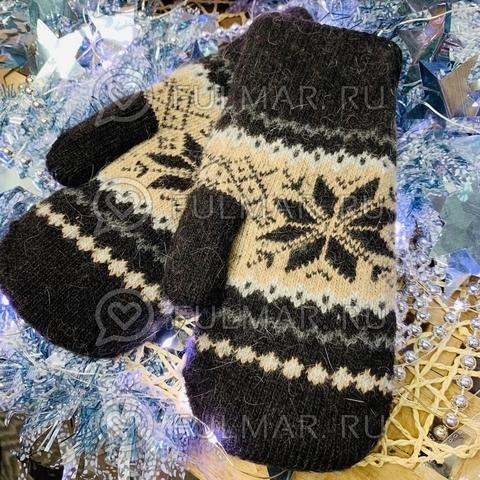 Варежки шерстяные вязаные Большая Снежинка (цвет: Шоколадный)