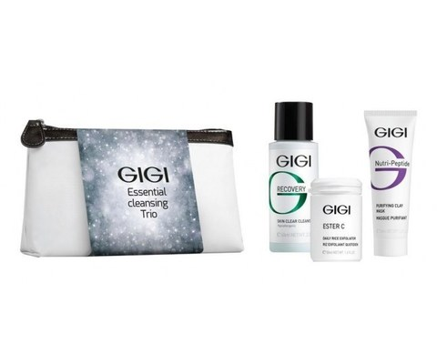 OS Essential Cleansing Trio GIGI  Подарочный набор Чистая кожа 3 препарата+ косметичка
