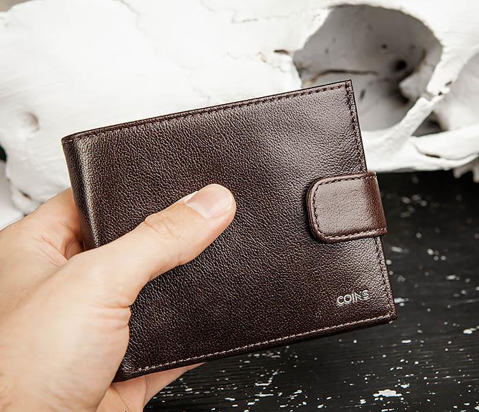 WL321-2 Мужское портмоне из коричневой кожи с монетницей, «Atos» фото 08