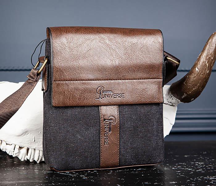 BAG561-1 Небольшая сумка из ткани и кожи с ремнем фото 03