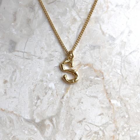 Колье с подвеской в виде буквы S, позолота