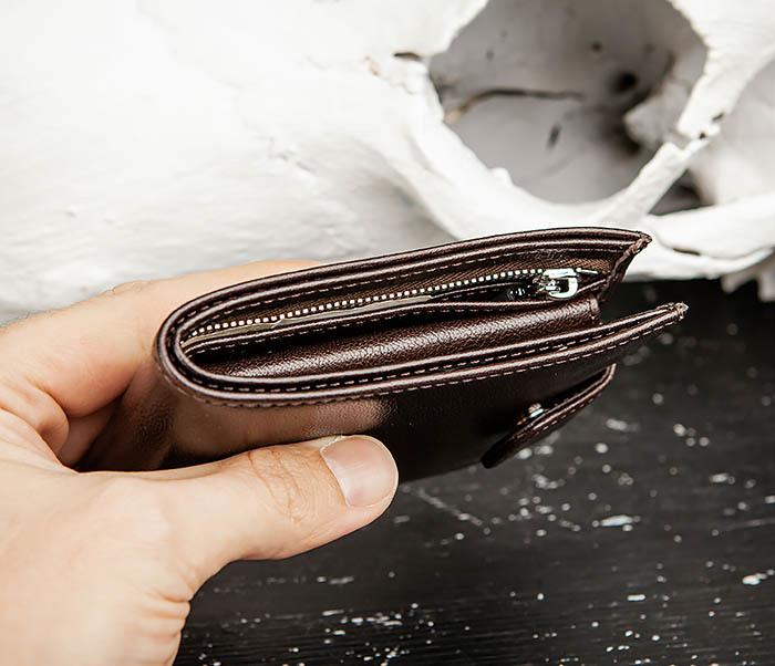 WL321-2 Мужское портмоне из коричневой кожи с монетницей, «Atos» фото 09