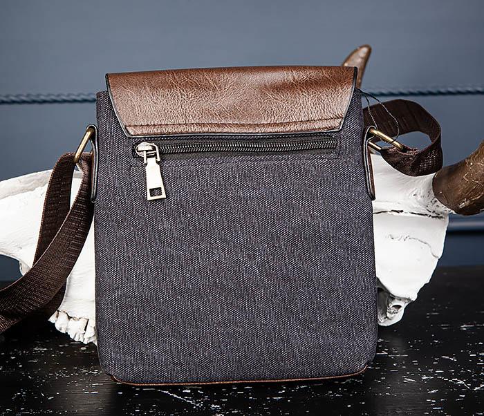 BAG561-1 Небольшая сумка из ткани и кожи с ремнем фото 04