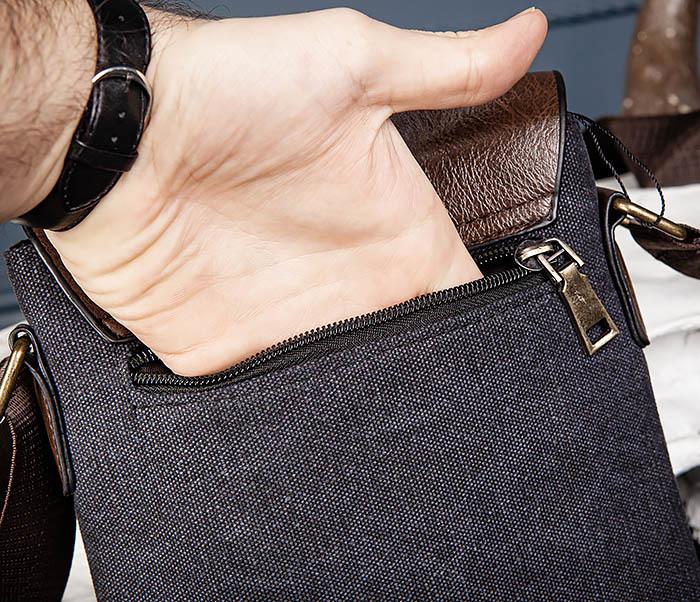 BAG561-1 Небольшая сумка из ткани и кожи с ремнем фото 05