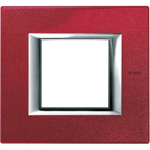 Рамка 1 пост, прямоугольная форма. ЛАКИРОВАННЫЕ. Цвет Рубин. Немецкий/Итальянский стандарт, 2 модуля. Bticino AXOLUTE. HA4802RC