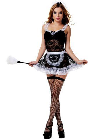 Костюм французской горничной состоит из черного ажурного мини-платья с белыми оборками, передника, головного убора и чулок в сетку фото