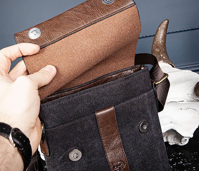 BAG561-1 Небольшая сумка из ткани и кожи с ремнем фото 06