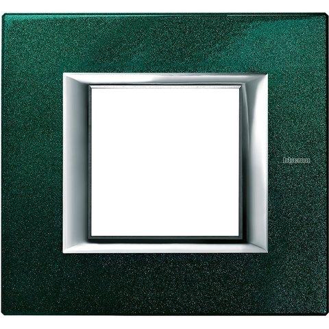 Рамка 1 пост, прямоугольная форма. ЛАКИРОВАННЫЕ. Цвет Малахит. Немецкий/Итальянский стандарт, 2 модуля. Bticino AXOLUTE. HA4802VS