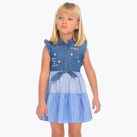 Платье Mayoral комбинированное джинсовое с вышивкой