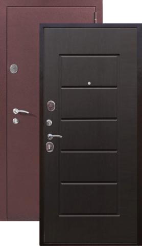 Дверь входная Гарда 7,5 см, 2 замка, 1,2 мм  металл, (медь антик+венге)