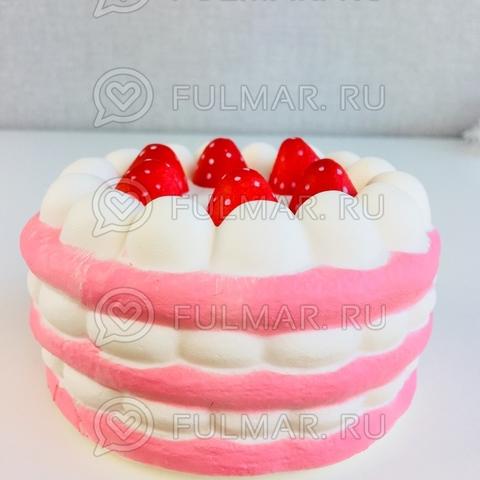 Сквиши Тортик с клубникой Кремовый-Розовый (11х6,5 см)