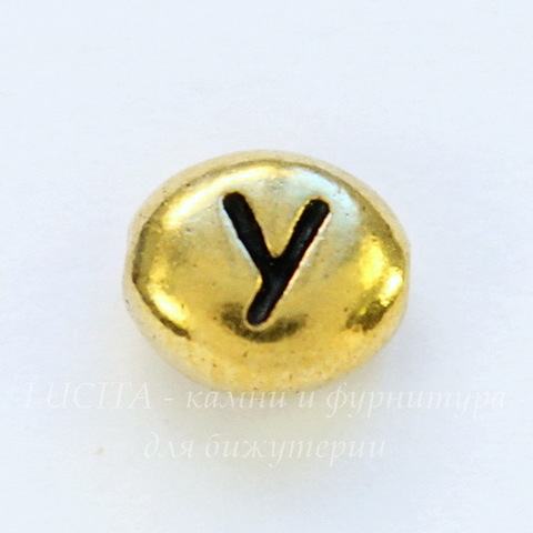 "Бусина овальная TierraCast ""Буква Y"" 7х6х3 мм (цвет-античное золото)"