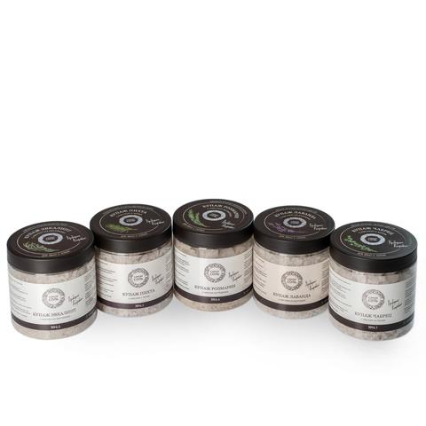 5 шт набор купажей ароматы к базовой соли, баночки по 600 г: Пихта, Лаванда, Розмарин, Эвкалипт, Чабрец, каждый на 3-4 применения
