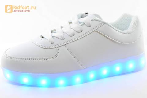 Светящиеся кроссовки с USB зарядкой Fashion (Фэшн) на шнурках, цвет белый, светится вся подошва. Изображение 1 из 29.