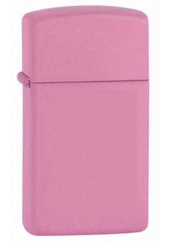Легендарная классическая американская бензиновая узкая зажигалка ZIPPO Slim® с покрытием Pink Matte Chrome™ розовая матовая из латуни и стали ZP-1638