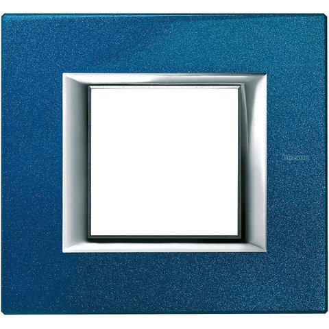 Рамка 1 пост, прямоугольная форма. ЛАКИРОВАННЫЕ. Цвет Сапфир. Немецкий/Итальянский стандарт, 2 модуля. Bticino AXOLUTE. HA4802BM