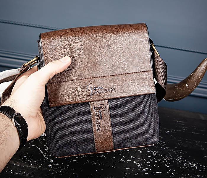 BAG561-1 Небольшая сумка из ткани и кожи с ремнем фото 10