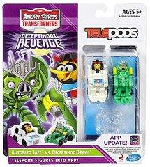 Набор 2 транформеров телепод Энгри Бердз - Transformers Telepods Autobird Jazz Bird vs. Deceptihog Brawl Pig, Hasbro