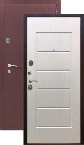Дверь входная Гарда 7,5 см, 2 замка, 1,2 мм  металл, (медь антик+ясень белый)