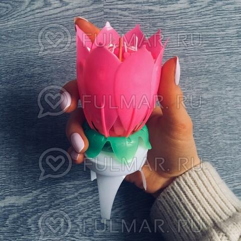 Свеча Музыкальный цветок Music Flower Candle Розовый