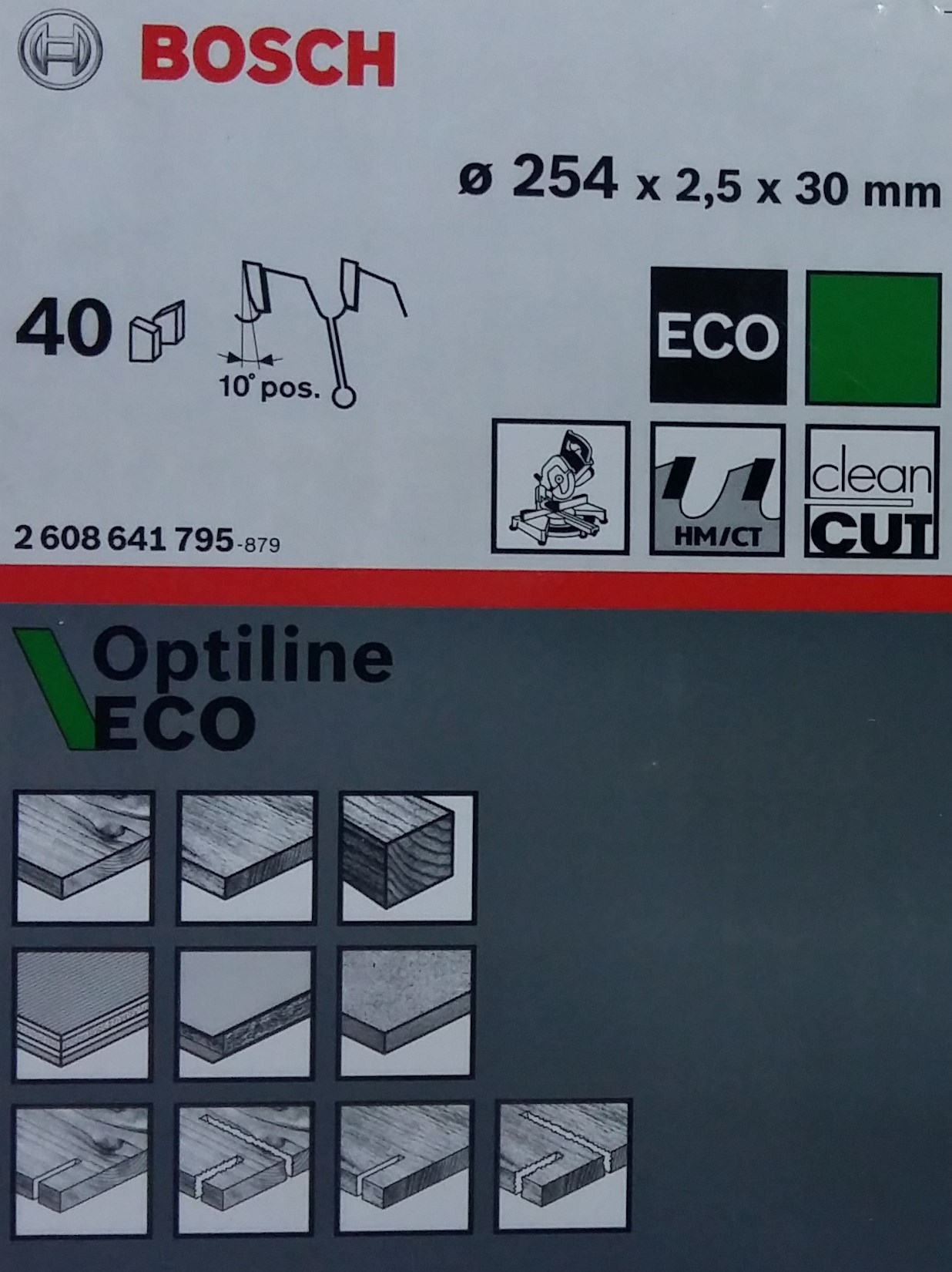 Диск дереву Bosch 254х2,5х30 мм Optiline ECO Z40