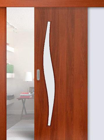 Дверь раздвижная Сибирь Профиль Волна (С-10), цвет итальянский орех, остекленная