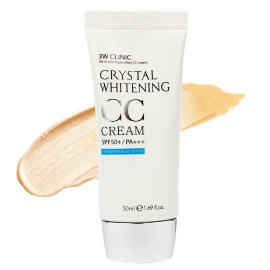 3W Clinic Осветляющий СС крем для лица Crystal Whitening CC Cream SPF 50/PA+++ (natural beige), 50 мл