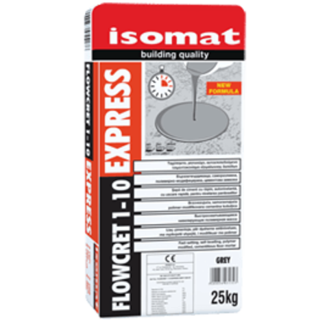 Isomat Flowcret 1-10 Express/Изомат Флоукрет 1-10 Экспресс быстросхватывающийся нивелирующий полимерцементный раствор