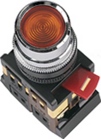 Кнопка ABLF-22 красный d22мм неон/230В 1з+1р TDM