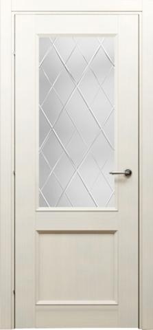 Дверь Краснодеревщик ДО 3324, цвет беленый дуб, остекленная