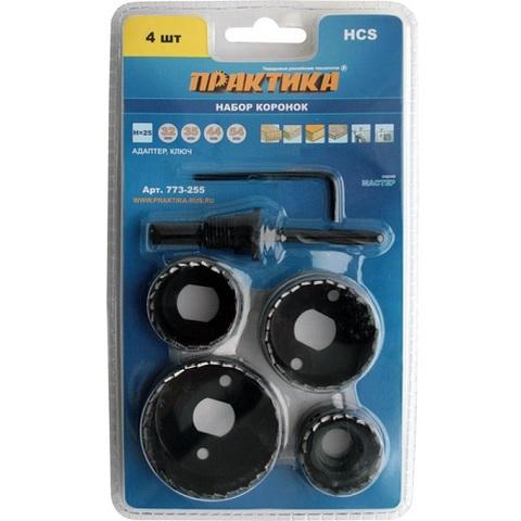 Набор HCS коронок ПРАКТИКА  4 шт 32, 35, 44, 54 мм + адаптер