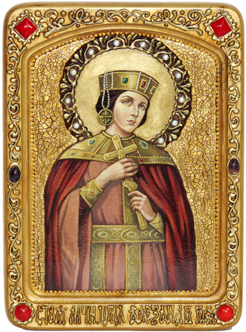 Живописная инкрустированная икона Святая мученица Александра Римская 29х21см на кипарисе в подарочной коробке