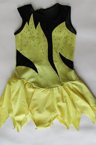 Платье со стразами, рост 158 см (черный, лайм)