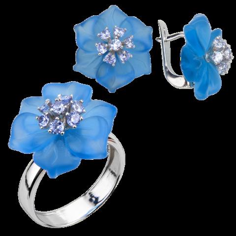 Комплект украшений с цветами из голубого кварца и кубическим цирконием цвета лаванды № БА1