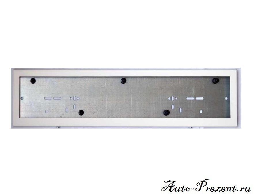 Рамки под номерной знак из оцинкованной стали (Белые) (2 шт.)