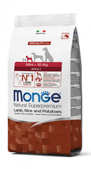 Monge Natural Superpremium Mini adult полноценный корм для взрослых собак мелких пород до 10 кг с ягненком, рисом и картофелем