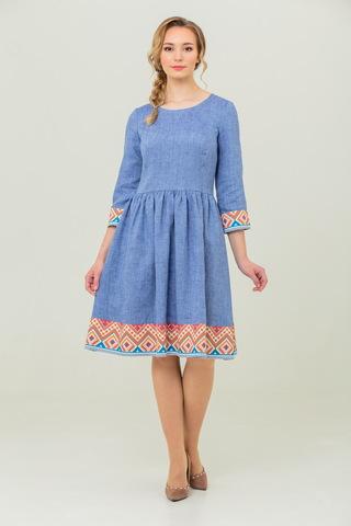 платье льняное бохо Синий меланж